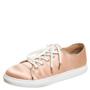 Charlotte Olympia Beige Satin Low Top Sneakers Size 36.5