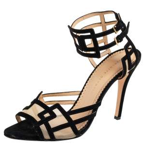 Charlotte Olympia Black Suede and Mesh Between The Lines Ankle Strap Sandals Size 41