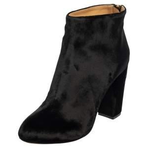 Charlotte Olympia Black Velvet Alba Ankle Boots Size 40