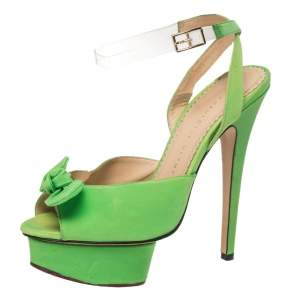 Charlotte Olympia Green Fabric Knot Platform Ankle Strap Sandals Size 38
