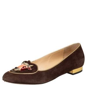 Charlotte Olympia Brown Suede Zodiac Taurus Embellished Smoking Slippers Size 39