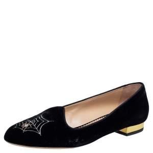 Charlotte Olympia Black Velvet Web Smoking Slippers Size 40