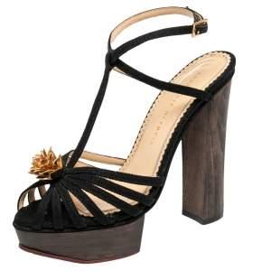 Charlotte Olympia Black Canvas Strappy Platform Block Heel Sandals Size 38