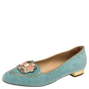 Charlotte Olympia Blue Suede Zodiac Gemini Ballet Flats Size 39