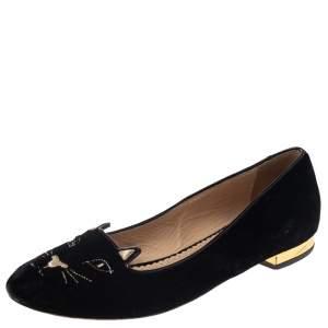 Charlotte Olympia Black Velvet Kitty Ballet Flats Size 39
