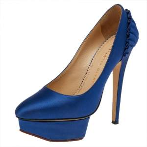 Charlotte Olympia Blue Satin Paloma Platform Pumps Size 35