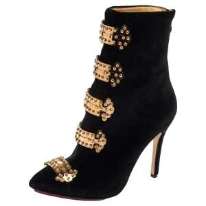 Charlotte Olympia Black Velvet Studs Embroidery Ankle Boots Size 35