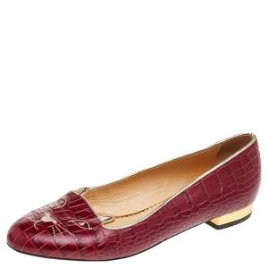 Charlotte Olympia Red Croc Embossed Leather Kitty Ballet Flats Size 39.5