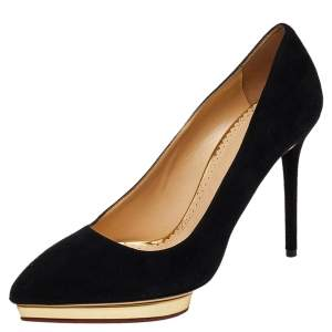 Charlotte Olympia Black Suede Dotty Pumps Size 39