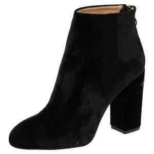 Charlotte Olympia Black Velvet Alba Ankle Boots Size 36.5