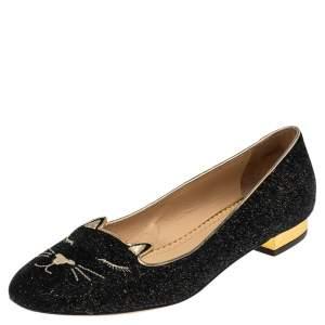 Charlotte Olympia Black/Gold Lurex Fabric Kitty Flats Size 37