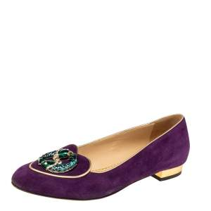 Charlotte Olympia Purple Suede Birthday Pisces Zodiac Flats Size 38