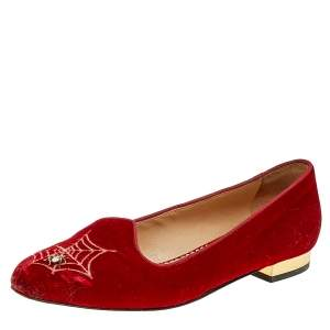 Charlotte Olympia Red Velvet Embroidered Ballet Flats Size 37