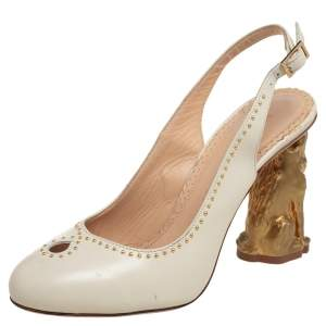 Charlotte Olympia Cream Leather Studded Slingback Sandals Size 36