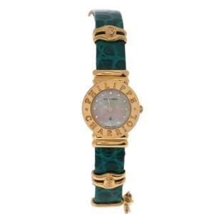 Philippe Charriol Yellow Mother Of Pearl Gold Plated Leather 28_9-12218 Women's Wristwatch 24 mm