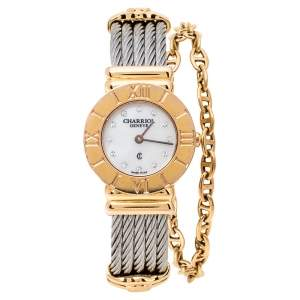 Charriol White Mother of Pearl Stainless Steel Gold Plated St-Tropez Ref.028R Women's Wristwatch 24.50 mm