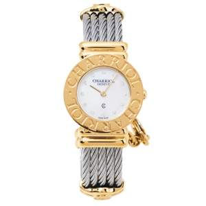 Charriol Mother Of Pearl Stainless Steel Yellow Gold Plated St Tropez Classic 028C.540.326 Women's Wristwatch 24.50 mm