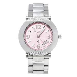 Charriol Pink Stainless Steel Diamond Colvmbvs CCR38 Women's Wristwatch 32 MM