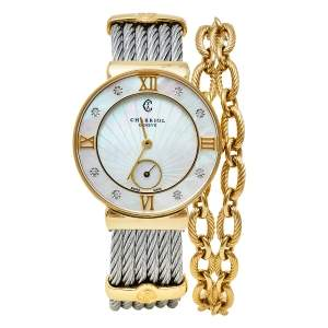 Charriol Mother Of Pearl Yellow Gold Plated Stainless Steel Diamonds ST-Tropez ST30.1 Women's Wristwatch 30 mm