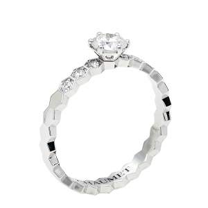 Chaumet Bee My Love Solitaire 0.31ct Diamond 18K White Gold Ring Size 49