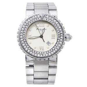 Chaumet Beige Stainless Steel Diamonds Class One 628 Women's Wristwatch 36MM