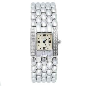 Chaumet Cream Stainless Steel Diamonds Khesis Quartz Women's Wristwatch 21 mm