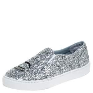 Chiara Ferragni Metallic Silver Glitter Slip On Sneakers Size  41