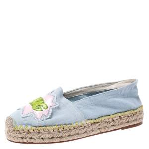 Chiara Ferragni Blue Canvas Pow Bang Espadrilles Loafers Size 41