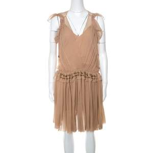 Chloe Pinky Beige Silk Crepon Pleated Embellished Dress S