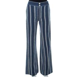 Chloe Blue Striped Cotton Canvas Wide Leg Trousers M