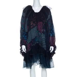 Chloe Multicolor Block Print Ruffle Trim Dress S