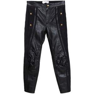 Chloé Black Leather & Nubuck Paneled Cropped Biker Pants S
