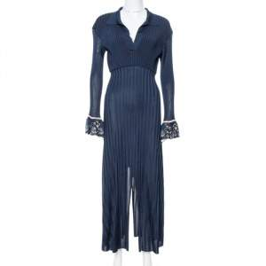 Chloe Iconic Navy Rib Knit Printed Cuff Midi Dress S