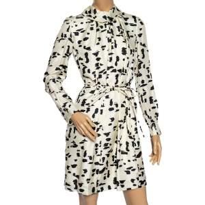 Chloe Naturel Printed Silk Pleated Front Detail Short Dress M