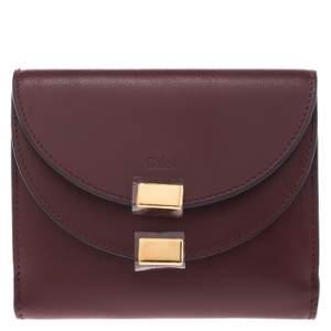Chloe Burgundy Leather Small Georgia Multi Flap Wallet