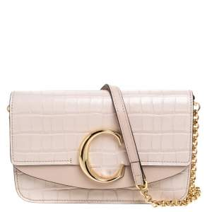 Chloe Pink Croc Embossed Leather Small C Double Carry Shoulder Bag