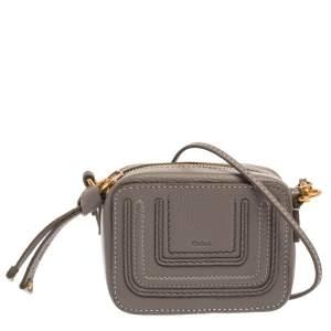 Chloe Grey Leather Mini Marcie Crossbody Bag