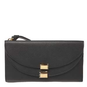 Chloe Black Leather Georgia Zipped Around Wallet