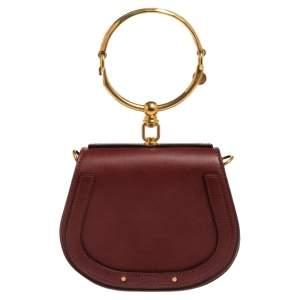 Chloé Dark Red Leather and Suede Small Nile Bracelet Shoulder Bag