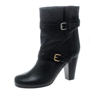 حذاء بوت كلوي منتصف ساق برينس جلد أسود مقاس 39