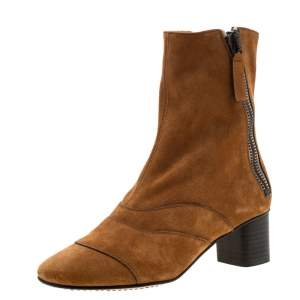 Chloe Brown Suede Block Heel Ankle Boots Size 36