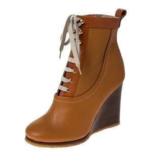 حذاء بوت كاحل كلوي رباط علوي كعب روكي جلد بني مقاس 37.5