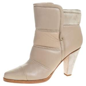 Chloe Beige Soft Leather Ankle Boots Size 40
