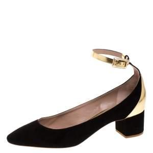 حذاء كعب عالي كلوي سير كاحل  كعب عريض جلد ذهبي وسويدي أسود مقاس 39
