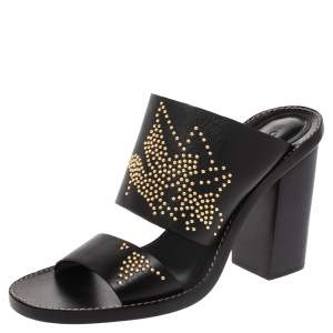 Chloe Black Studded Leather Slide Sandals Size 38.5