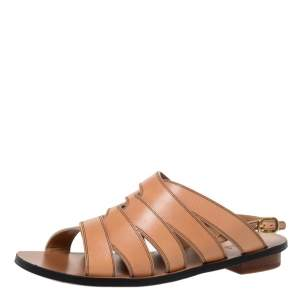 Chloe Brown Leather Slingback Flat Sandals Size 36