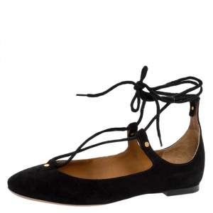 Chloe Black Suede Foster Lace-up Ballet Flats Size 36.5