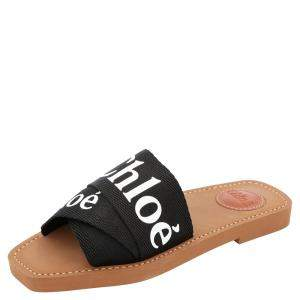 Chloe Black Canvas 'Woody' Logo Print Strap Sandals Size 38