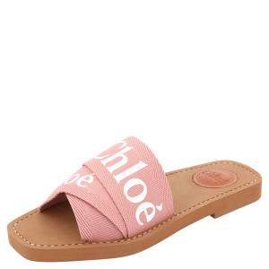Chloe Light Pink Canvas 'Woody' Logo Print Strap Sandals Size 35