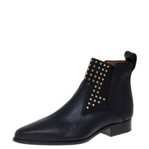 حذاء بوت كاحل كلوى ترصيعات جلد أسود مقاس 40